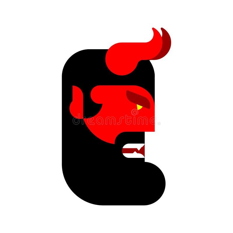 Κεφάλι Satans Κόκκινο πρόσωπο δαιμόνων Κερασφόρο ρύγχος διαβόλων Asmodeus vect ελεύθερη απεικόνιση δικαιώματος