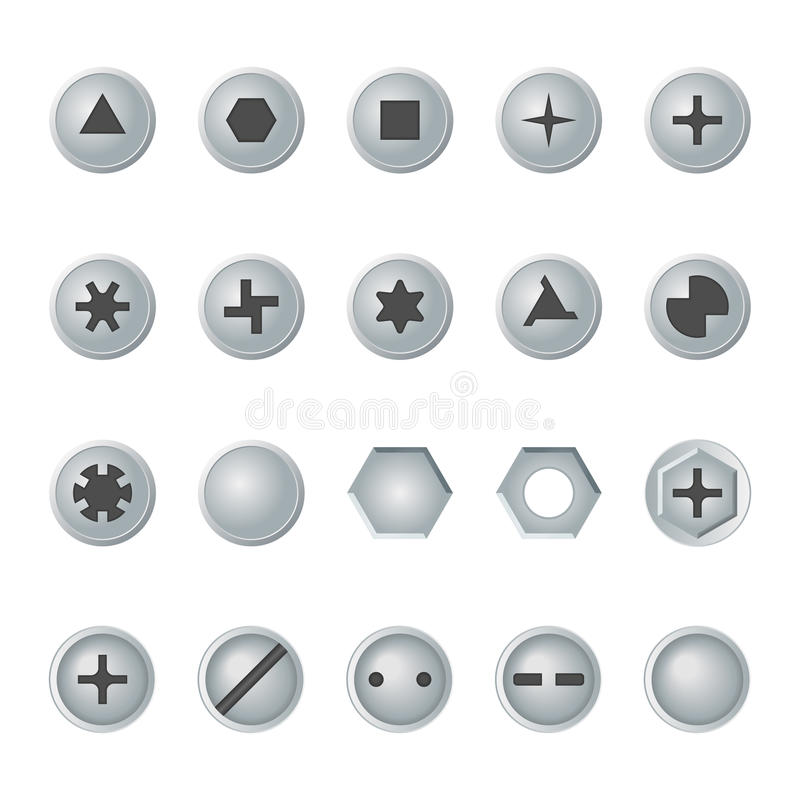 Κεφάλια βιδών και μπουλονιών καθορισμένα το σχέδιο εύκολο επιμελείται τα στοιχεία στο διάνυσμα απεικόνιση αποθεμάτων
