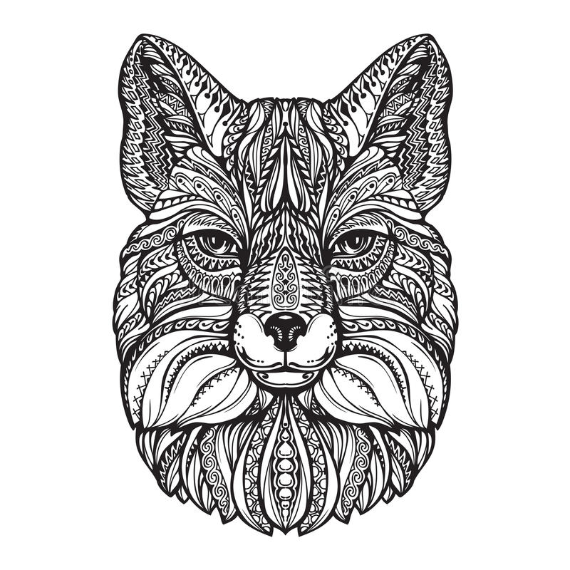 Κεφάλι αλεπούδων Συρμένο χέρι ζώο σκίτσων Εθνική διαμορφωμένη διανυσματική απεικόνιση διανυσματική απεικόνιση
