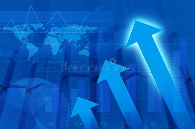 Κεφάλι βελών με το οικονομικούς διάγραμμα και τον πύργο, σφαιρική έννοια, Eleme ελεύθερη απεικόνιση δικαιώματος