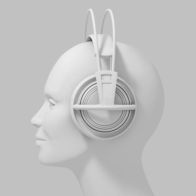 Κεφάλι γυναικών με τα ακουστικά στο άσπρο υπόβαθρο ελεύθερη απεικόνιση δικαιώματος