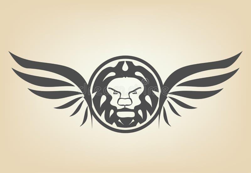 Κεφάλι λιονταριών με τα φτερά διανυσματική απεικόνιση