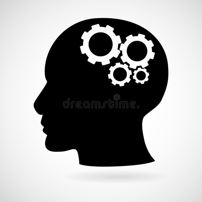 Κεφάλι με το εικονίδιο εργαλείων που απομονώνεται στο άσπρο υπόβαθρο, απεικόνιση αποθεμάτων
