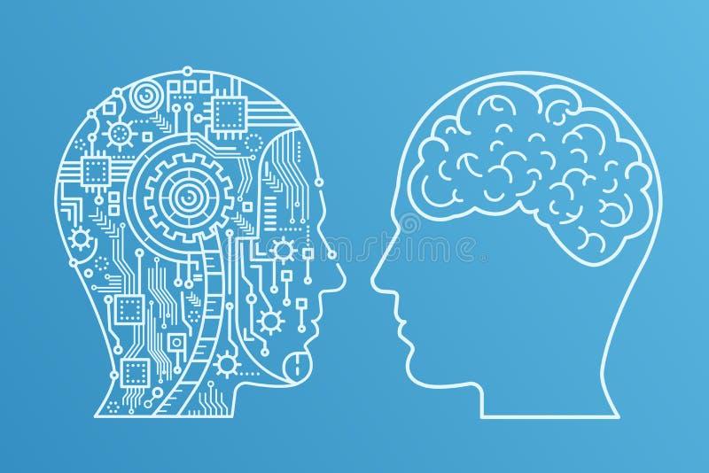 Κεφάλι μηχανημάτων κτυπήματος περιλήψεων του cyborg και του ανθρώπινου με τον εγκέφαλο Διανυσματική απεικόνιση ύφους γραμμών ελεύθερη απεικόνιση δικαιώματος