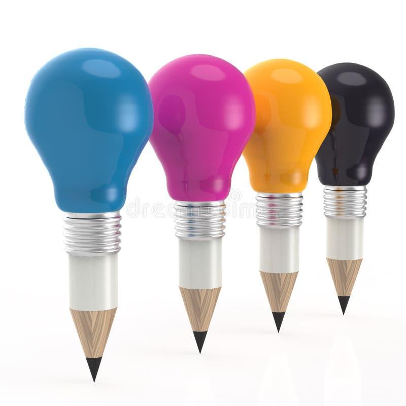 Κεφάλι μολυβιών lightbulb στο χρώμα cmyk ως δημιουργική έννοια ελεύθερη απεικόνιση δικαιώματος