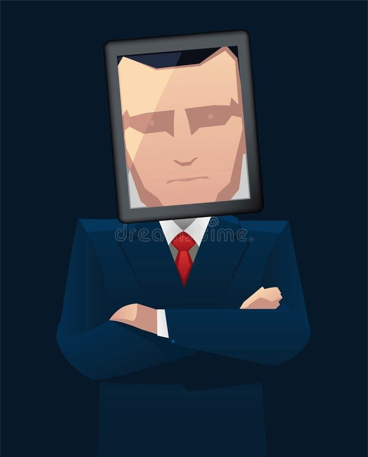 Κεφάλι ταμπλετών επιχειρηματιών απεικόνιση αποθεμάτων