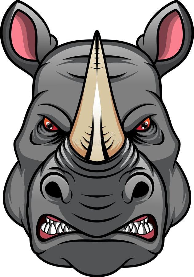 Κεφαλή μασκότ ρινόκερου διανυσματική απεικόνιση