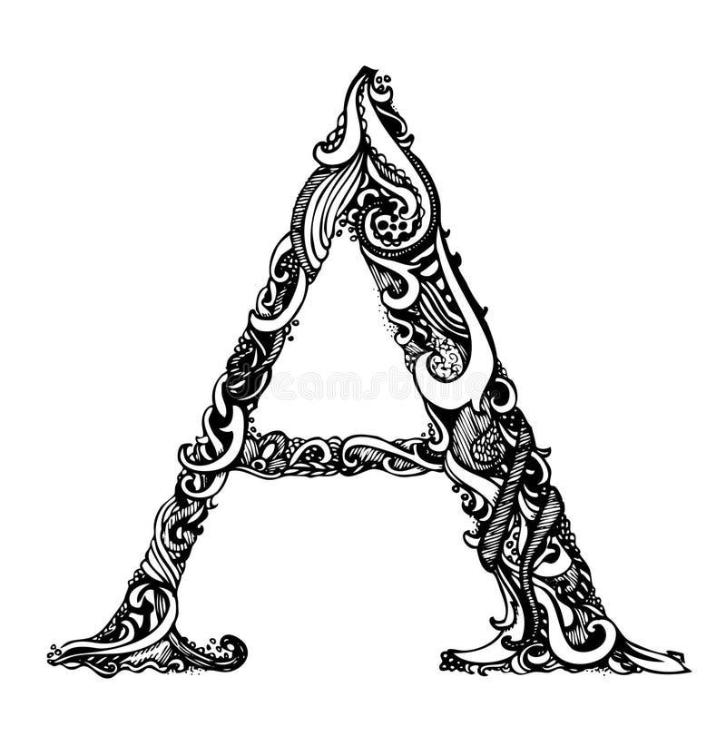 Κεφαλαίο γράμμα Α - καλλιγραφικό εκλεκτής ποιότητας Swirly διανυσματική απεικόνιση