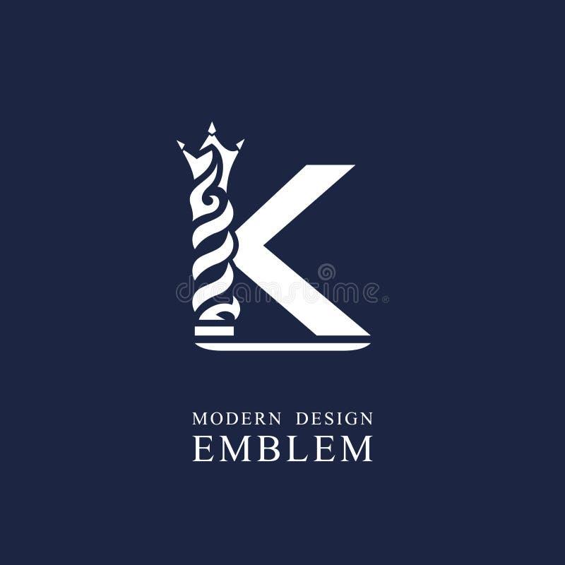 Κεφαλαίο γράμμα Κ Χαριτωμένο βασιλικό ύφος Ελάχιστο σχέδιο τέχνης Κομψό λογότυπο με τα κυματιστά στοιχεία Συρμένο έμβλημα για την απεικόνιση αποθεμάτων