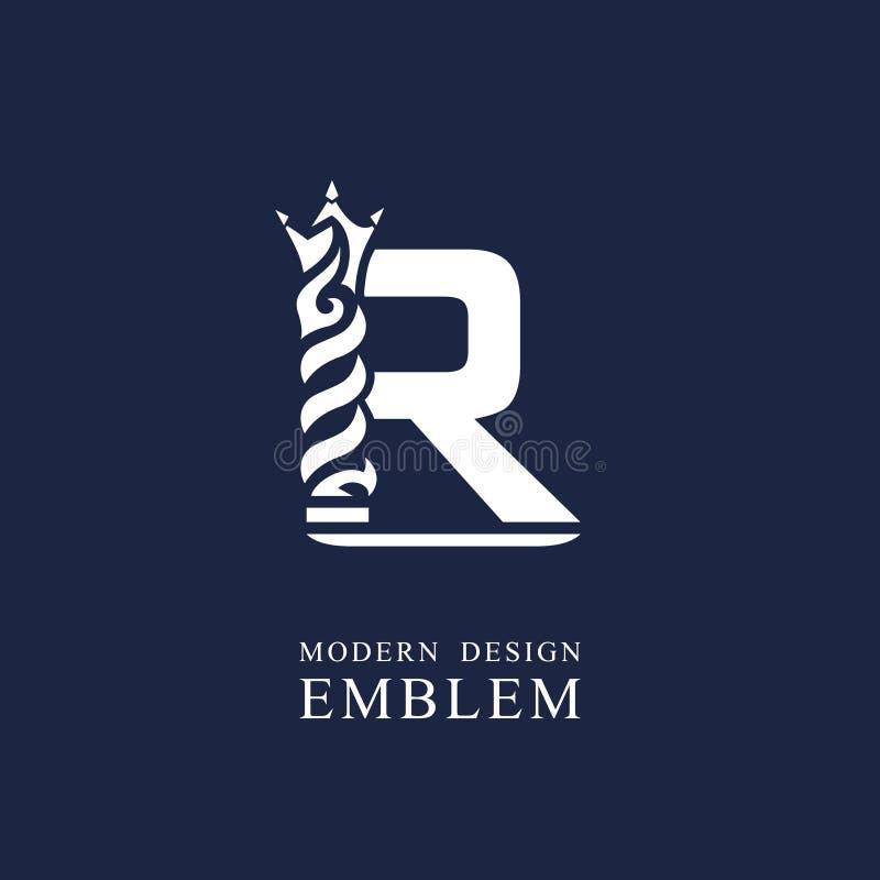 Κεφαλαίο γράμμα Ρ Χαριτωμένο βασιλικό ύφος Ελάχιστο σχέδιο τέχνης Κομψό λογότυπο με τα κυματιστά στοιχεία Συρμένο έμβλημα για την διανυσματική απεικόνιση