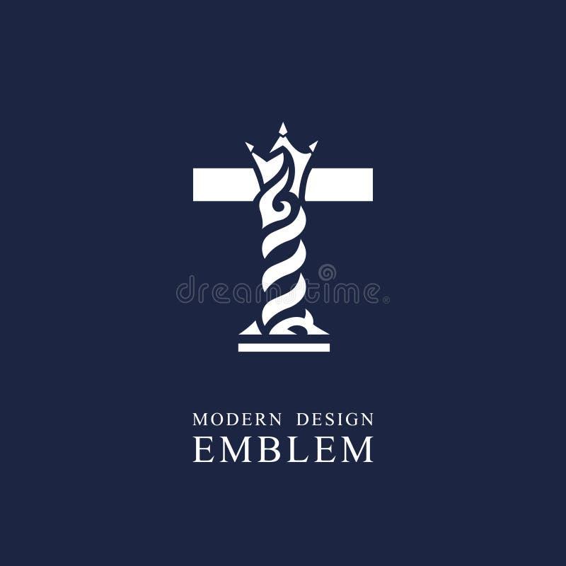 Κεφαλαίο γράμμα Τ Χαριτωμένο βασιλικό ύφος Ελάχιστο σχέδιο τέχνης Κομψό λογότυπο με τα κυματιστά στοιχεία Συρμένο έμβλημα για την ελεύθερη απεικόνιση δικαιώματος