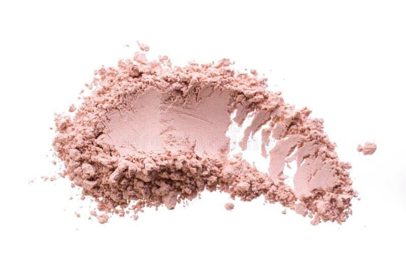 Κηλίδα από τον ξηρό ρόδινο καλλυντικό άργιλο Σύσταση της σκόνης makeup - κοκκινίστε ή σκιά ματιών η σκούπα απομόνωσε το λε&u στοκ εικόνες