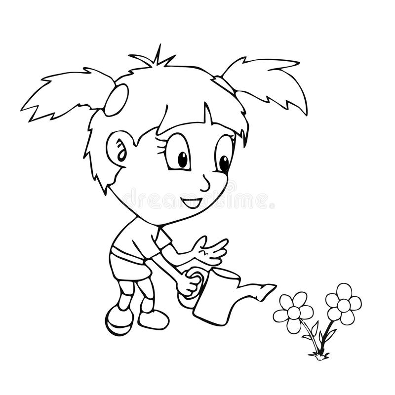 Κηπουρική κοριτσιών βιβλίων χρωματισμού απεικόνιση αποθεμάτων