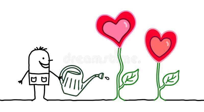 Κηπουρός κινούμενων σχεδίων με την ανάπτυξη των καρδιών ελεύθερη απεικόνιση δικαιώματος