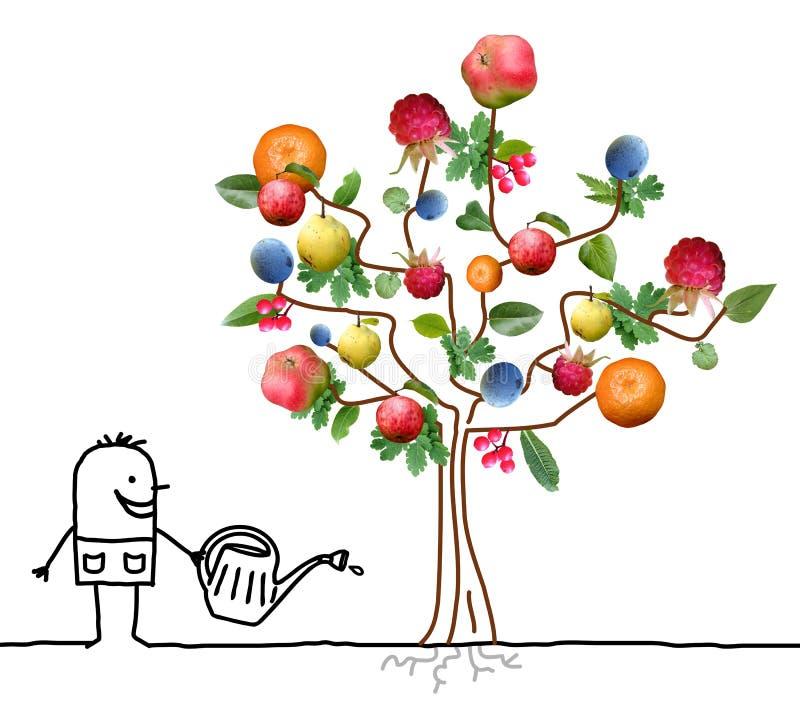 Κηπουρός κινούμενων σχεδίων που ποτίζει το πολυ οπωρωφόρο δέντρο ελεύθερη απεικόνιση δικαιώματος