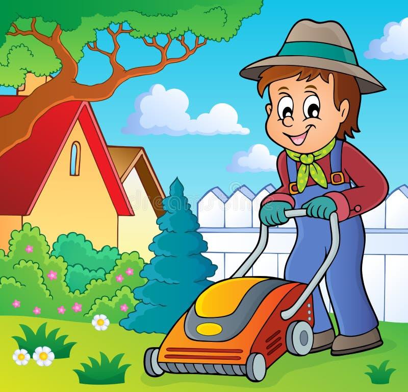 Κηπουρός με την εικόνα 2 θέματος θεριστών χορτοταπήτων ελεύθερη απεικόνιση δικαιώματος