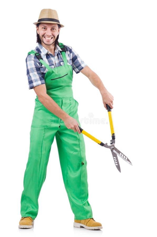 Κηπουρός που απομονώνεται αρσενικός στο λευκό στοκ φωτογραφία με δικαίωμα ελεύθερης χρήσης