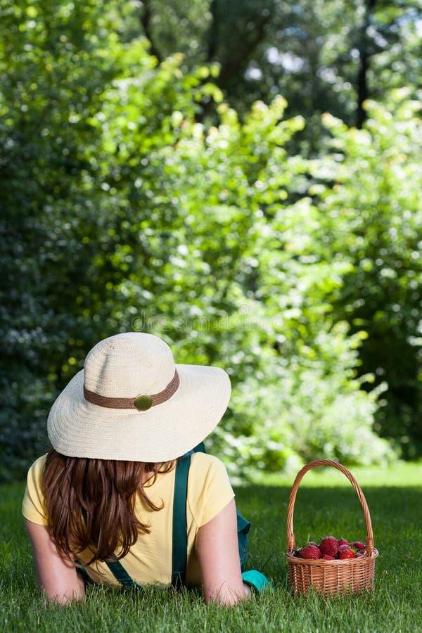 Κηπουρός που στηρίζεται μετά από την επιλογή φραουλών στοκ εικόνες