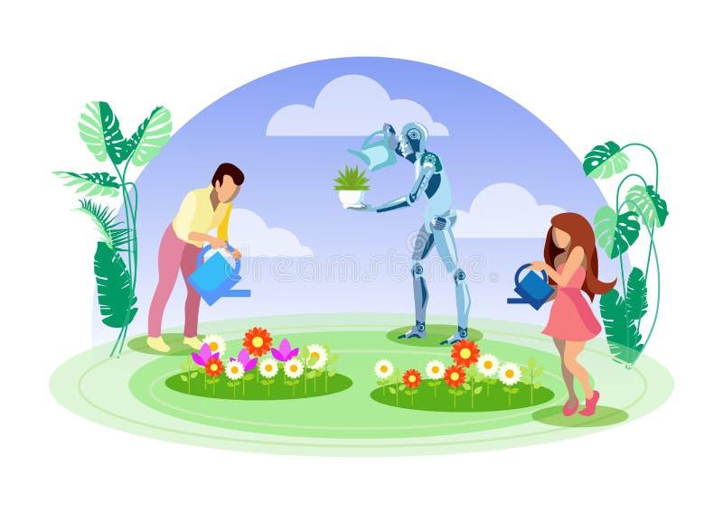 Κηπουρός ρομπότ, επίπεδη διανυσματική απεικόνιση αρωγών διανυσματική απεικόνιση