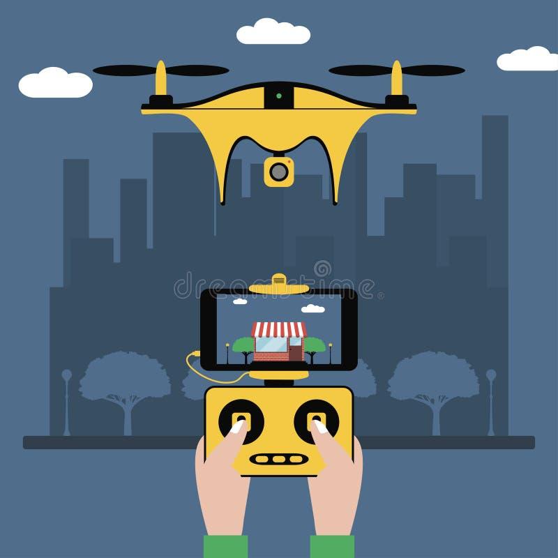 Κηφήνας και τηλεχειρισμός Τα χέρια κρατούν έναν ραδιο ελεγκτή με την οθόνη στο quadcopter που πετά πέρα από την πόλη Quadricopter διανυσματική απεικόνιση