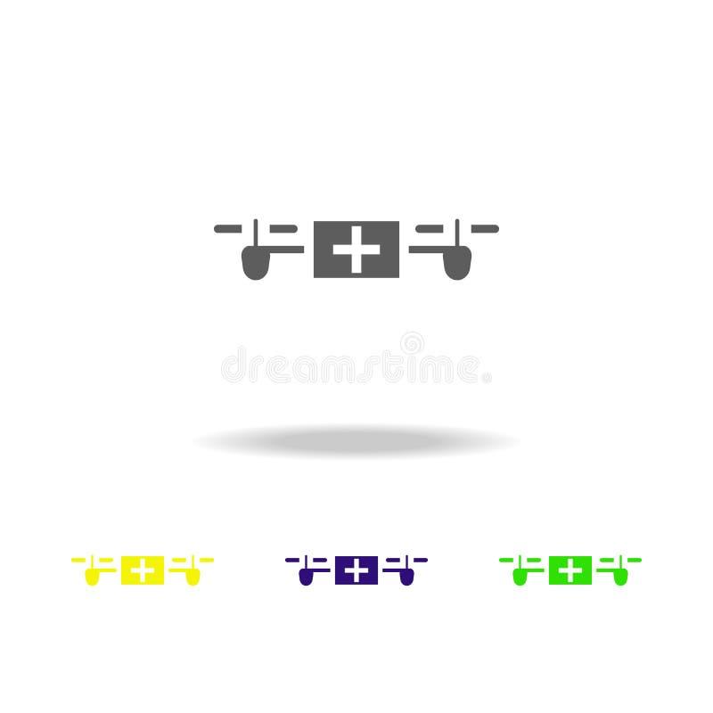 κηφήνας με το εικονίδιο χρώματος γραφείων ιατρικής Στοιχεία ενός ελεγχόμενου εικονιδίου χρώματος αεροσκαφών Σημάδια, εικονίδιο συ διανυσματική απεικόνιση