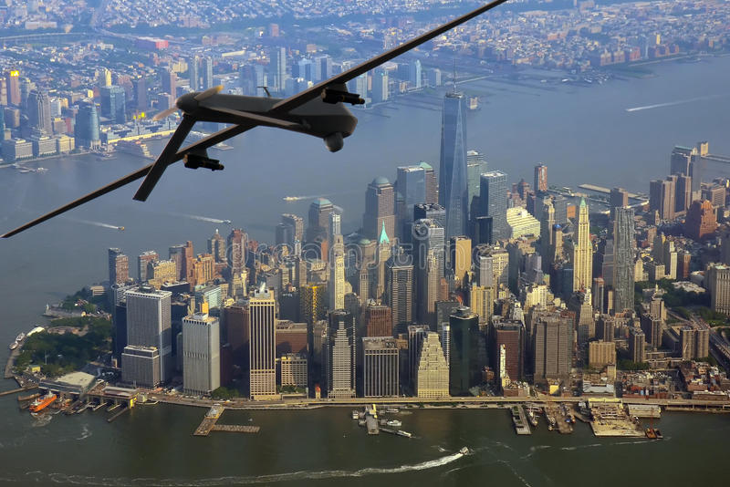 Κηφήνας πέρα από την πόλη της Νέας Υόρκης στοκ φωτογραφίες