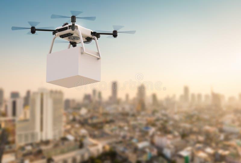 Κηφήνας παράδοσης που πετά στην πόλη διανυσματική απεικόνιση