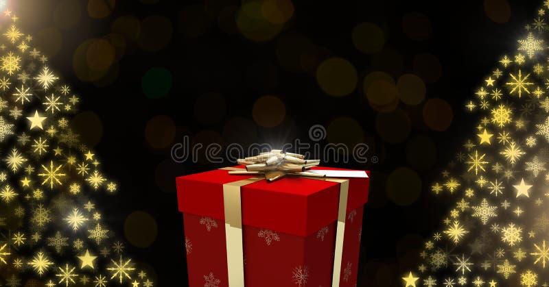 Κιβωτίων και Snowflake δώρων μορφές σχεδίων χριστουγεννιάτικων δέντρων ελεύθερη απεικόνιση δικαιώματος