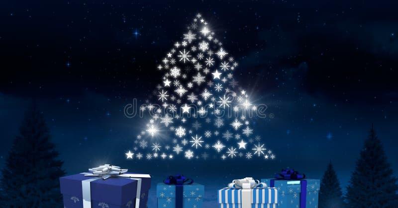 Κιβωτίων και Snowflake δώρων μορφή σχεδίων χριστουγεννιάτικων δέντρων που καίγεται στο χειμερινό νυχτερινό ουρανό απεικόνιση αποθεμάτων
