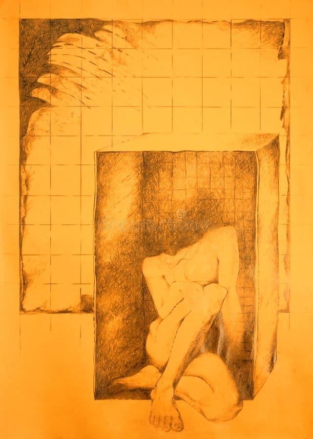 κιβωτίων Nude που παγιδεύεται αρσενικός Στοκ Φωτογραφία