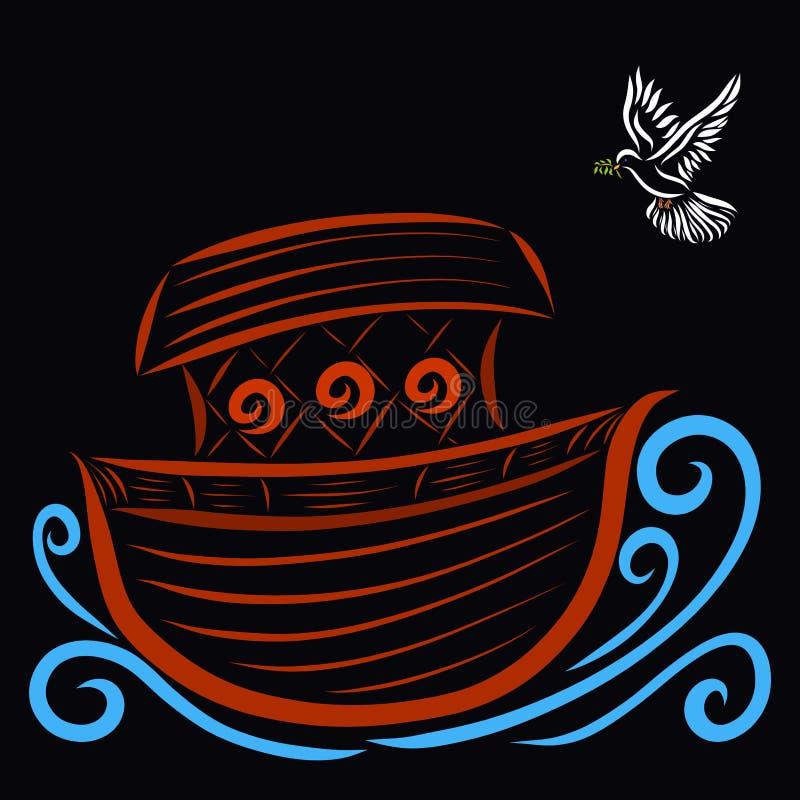 Κιβωτός που επιπλέει στα κύματα και το πετώντας περιστέρι με ένα κλαδάκι, μαύρο BA ελεύθερη απεικόνιση δικαιώματος