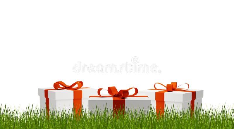 Κιβώτια δώρων πίσω από την τρισδιάστατος-απεικόνιση λεπίδων της χλόης διανυσματική απεικόνιση