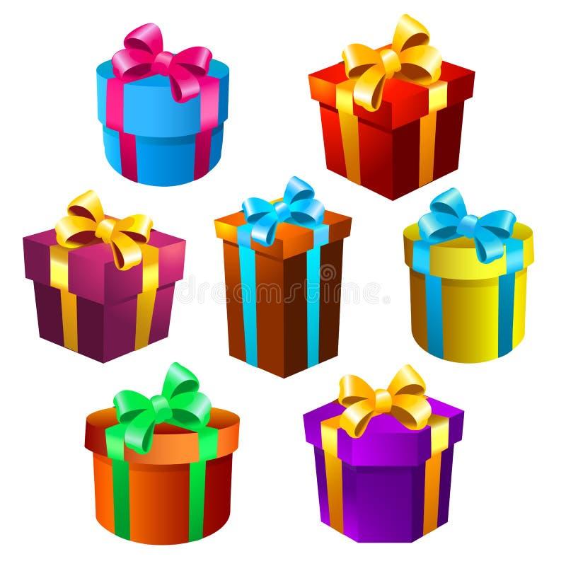 Κιβώτια δώρων που τίθενται διανυσματική απεικόνιση