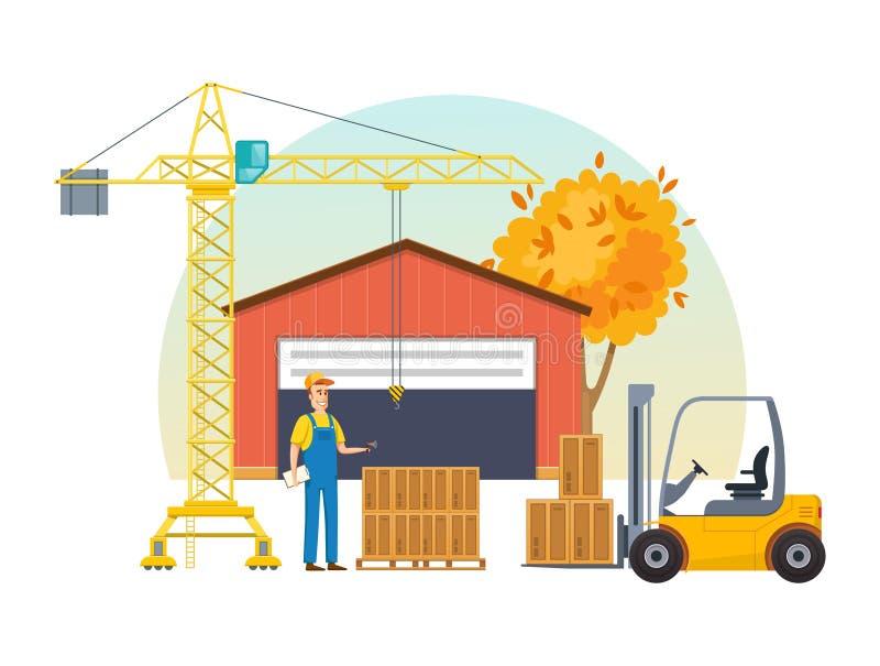 Κιβώτια μερών αποθηκών εμπορευμάτων φθινοπώρου στην ξύλινη παλέτα, έτοιμη στη φόρτωση διανυσματική απεικόνιση