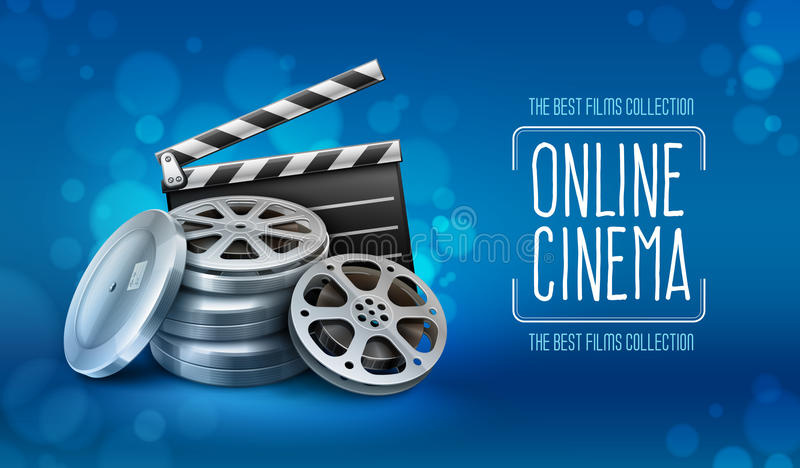 Κιβώτια με clapper δίσκων και διευθυντών ταινιών ταινιών για τη κινηματογραφία διανυσματική απεικόνιση