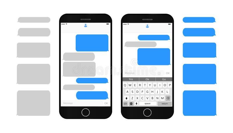 Κιβώτια μηνυμάτων κειμένου στην οθόνη smartphone στοκ φωτογραφία