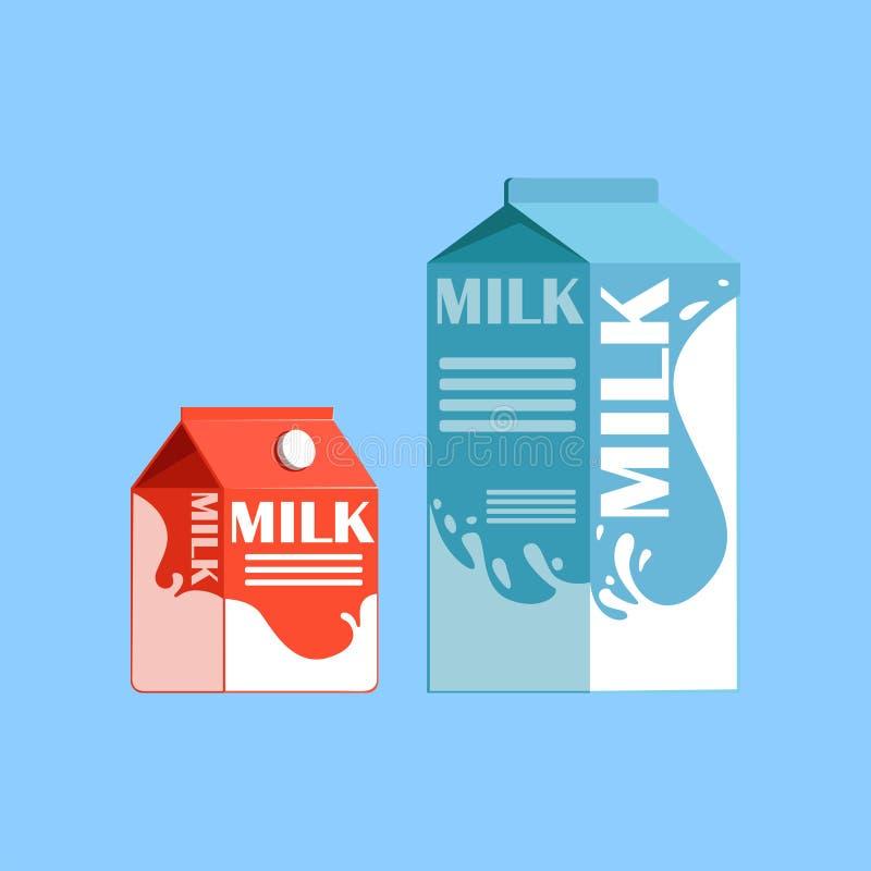 Κιβώτια χαρτοκιβωτίων της φρέσκιας και υγιούς γαλακτοκομικών προϊόντων διανυσματικής απεικόνισης γάλακτος, απεικόνιση αποθεμάτων