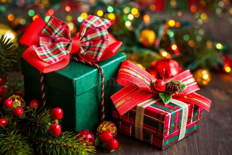 Κιβώτια δώρων Χριστουγέννων στοκ φωτογραφίες με δικαίωμα ελεύθερης χρήσης