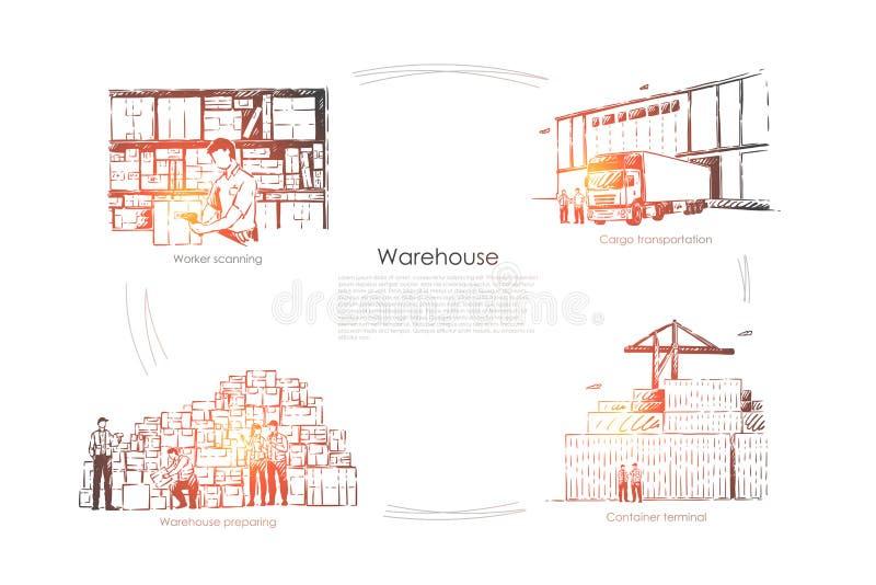 Κιβώτιο ανίχνευσης εργαζομένων, μεταφορά φορτίου, αποθήκη εμπορευμάτων που προετοιμάζεται, τελικό, βιομηχανικό έμβλημα υπηρεσιών  διανυσματική απεικόνιση