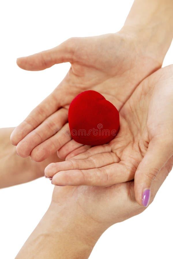 Κιβώτιο δώρων για το δαχτυλίδι στα χέρια των εραστών στοκ φωτογραφίες με δικαίωμα ελεύθερης χρήσης