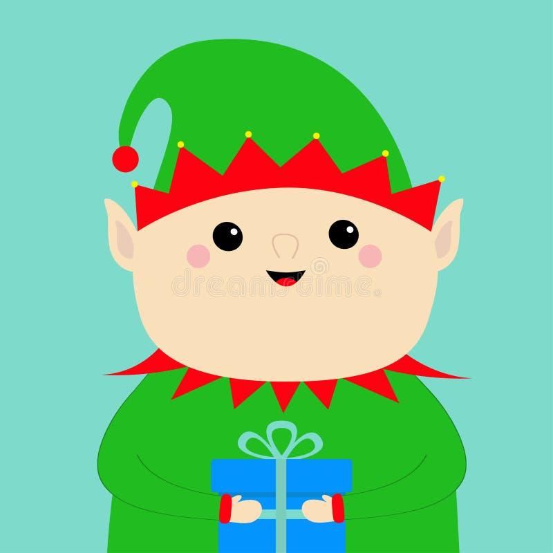 Κιβώτιο δώρων εκμετάλλευσης προσώπου νεραιδών Άγιου Βασίλη πράσινο καπέλο Χριστούγεννα εύθυμα νέο έτος Χαριτωμένος χαρακτήρας μωρ απεικόνιση αποθεμάτων