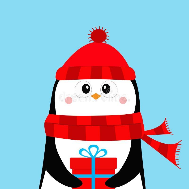 Κιβώτιο δώρων εκμετάλλευσης Penguin παρόν Κόκκινα καπέλο και μαντίλι Χριστούγεννα εύθυμα καλή χρονιά Χαριτωμένος χαρακτήρας μωρών ελεύθερη απεικόνιση δικαιώματος