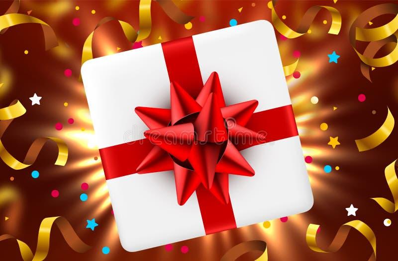 Κιβώτιο δώρων και μαγικά ελαφριά πυροτεχνήματα και υπόβαθρο Χριστουγέννων κομφετί διανυσματική απεικόνιση