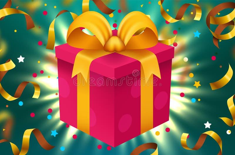 Κιβώτιο δώρων και μαγικά ελαφριά πυροτεχνήματα και υπόβαθρο Χριστουγέννων κομφετί απεικόνιση αποθεμάτων