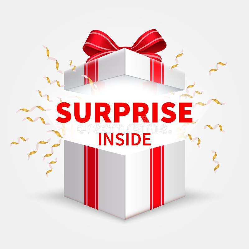 Κιβώτιο δώρων με την κορδέλλα Ανοίγοντας άσπρο κιβώτιο Έκπληξη γενεθλίων και διανυσματική έννοια χριστουγεννιάτικου δώρου ελεύθερη απεικόνιση δικαιώματος