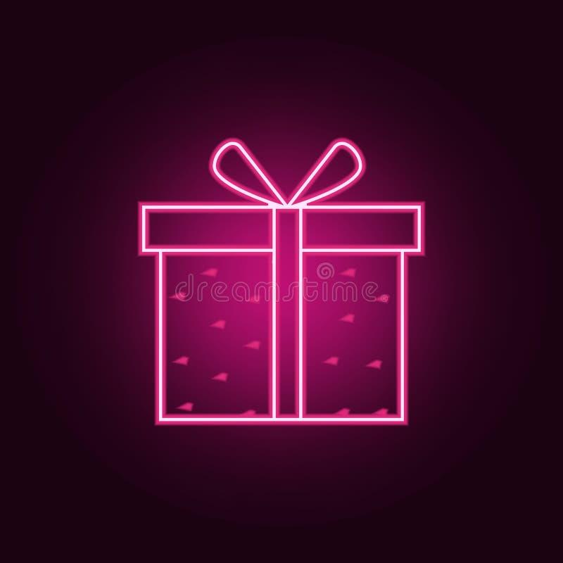 κιβώτιο δώρων με το εικονίδιο καρδιών Στοιχεία του βαλεντίνου στα εικονίδια ύφους νέου Απλό εικονίδιο για τους ιστοχώρους, σχέδιο διανυσματική απεικόνιση