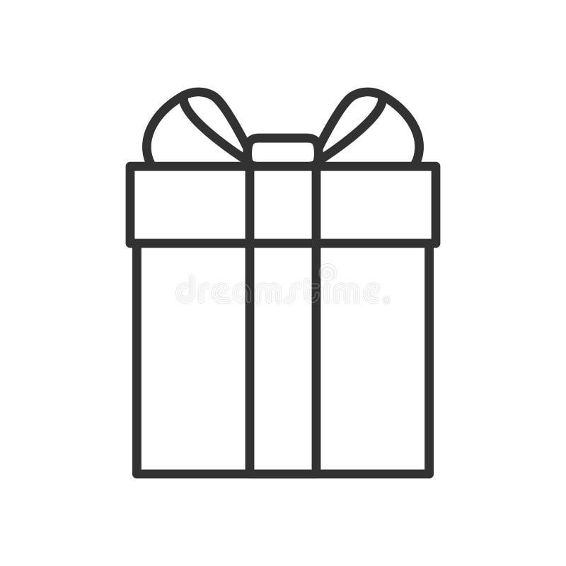 Κιβώτιο δώρων με το εικονίδιο περιλήψεων κορδελλών στο λευκό διανυσματική απεικόνιση