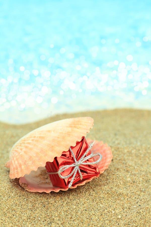 Κιβώτιο δώρων σε ένα κοχύλι θάλασσας στοκ εικόνα