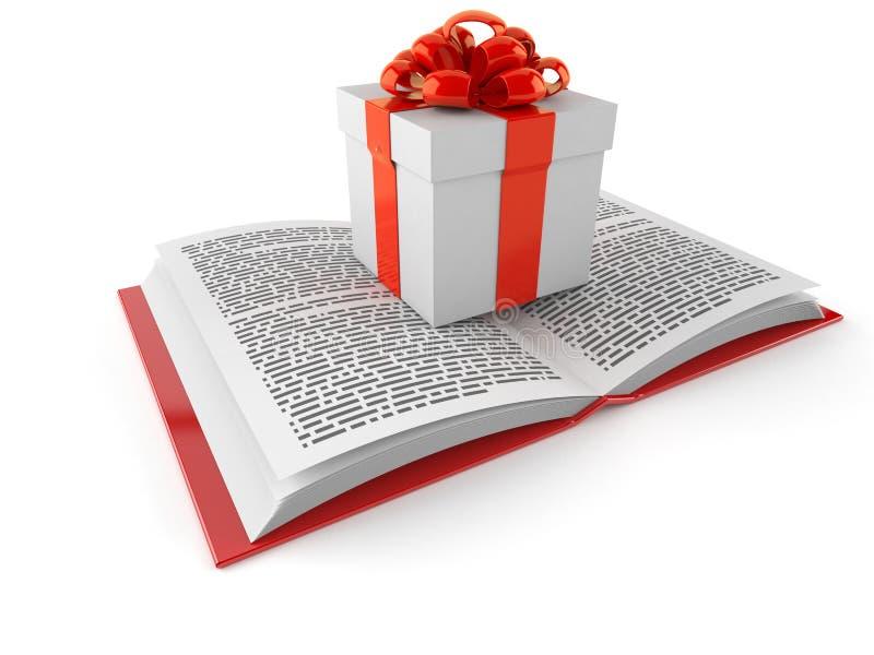 Κιβώτιο δώρων στο ανοικτό βιβλίο απεικόνιση αποθεμάτων