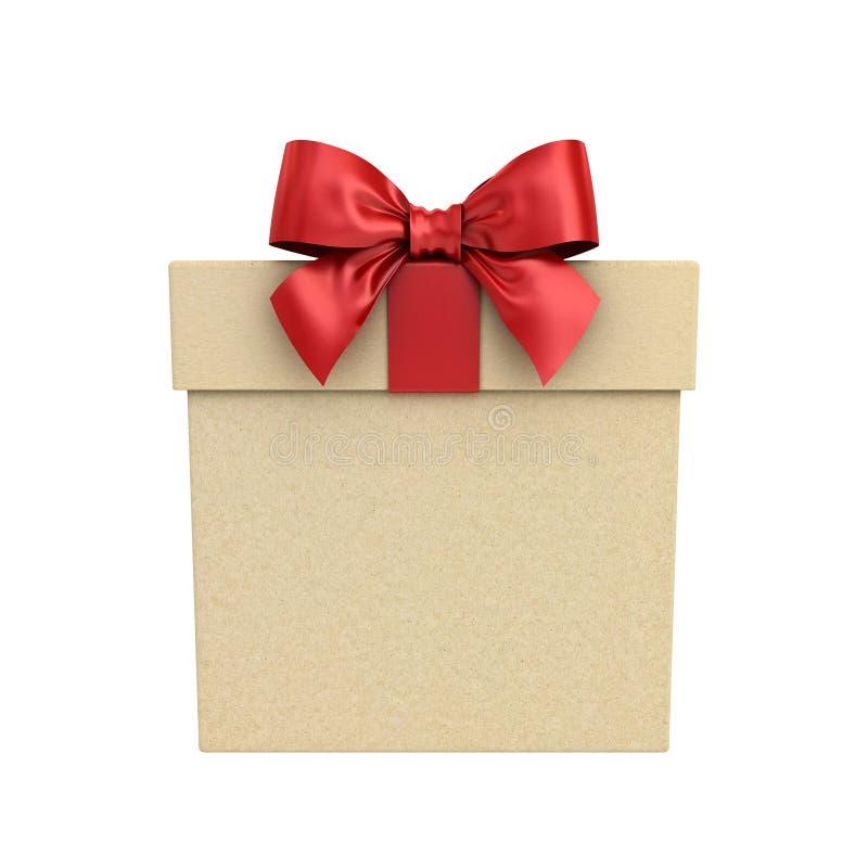 Κιβώτιο δώρων χαρτονιού ή παρόν κιβώτιο με το κόκκινο τόξο κορδελλών που απομονώνεται στο άσπρο υπόβαθρο στοκ εικόνα με δικαίωμα ελεύθερης χρήσης